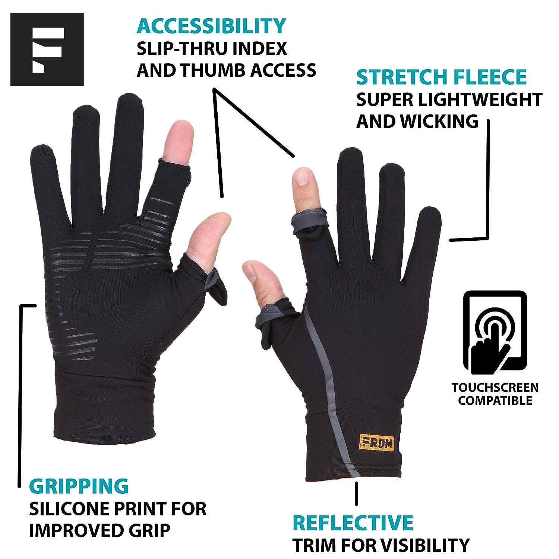Lightweight Touchscreen Running Hiking Photography for Men /& Women FRDM Convertible Liner Gloves