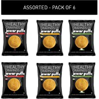 The Healthy Cravings Co Crunchy Jowar Puffs (6 Packs, 150g) - Indian Spices, Cheddar Cheese & Herbs & Sundried Tomatoes (3x50g)