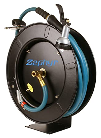 Zephyr Auto Retractable Garden Hose Reel With Rubber Water Hose U0026 Spray Gun    Never