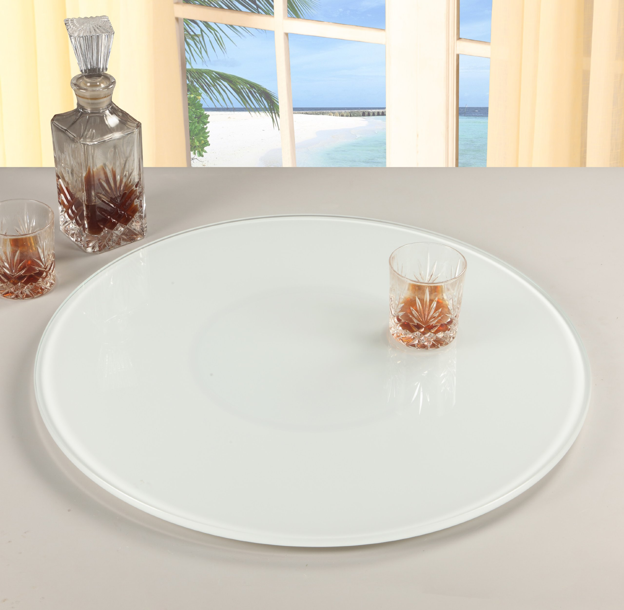 Chintaly Imports Lazy Susan Round Rotating Tray, 24-Inch, Glass/White