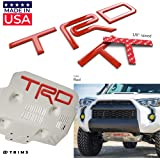BDTrims Domed 3D Raised Letters Compatible with TRD Skid Plate 4Runner 2015-2018 Models (Red)