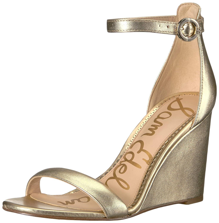 Sam Edelman® Women's Neesa Molten Gold Metallic Leather Wedge Sandal - DeluxeAdultCostumes.com