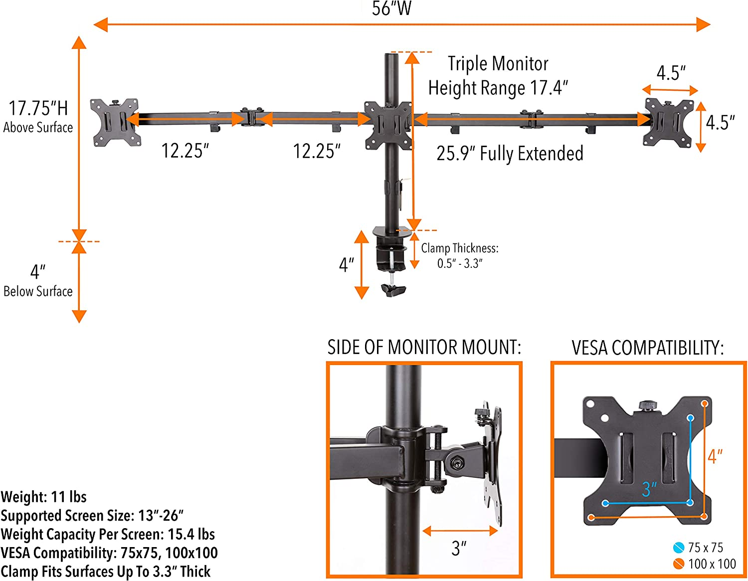 Stand Steady Triple Horizontal Monitor Mount