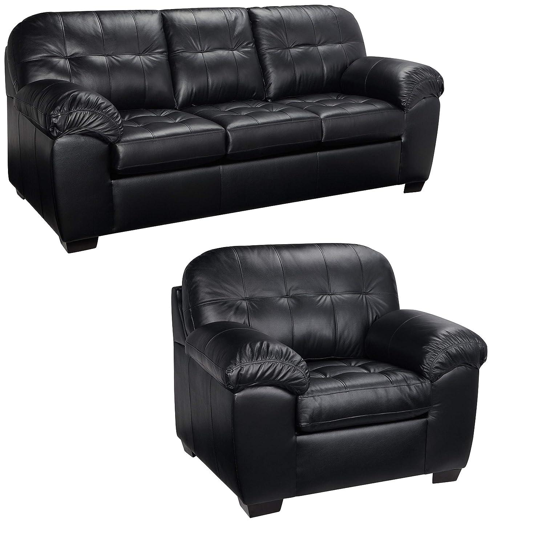 Amazon.com: Black Italian Leather Sofa and Chair Set - This Living ...