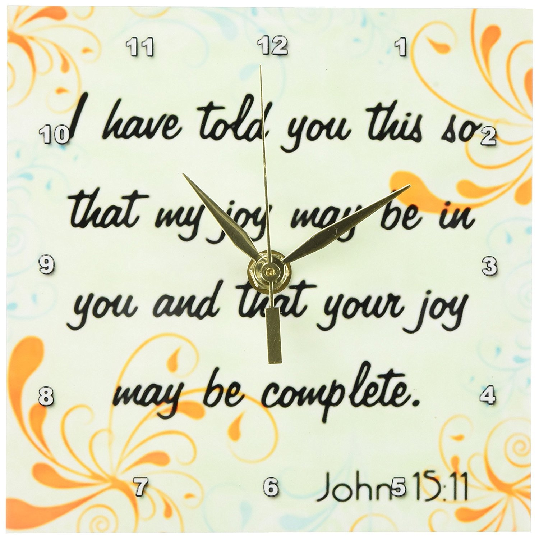 3dRose dc_150071_1 Bible Verse John 15-11 Gradient Swirl Pastel Bible Christian Inspirational Saying Desk Clock, 6 by 6-Inch