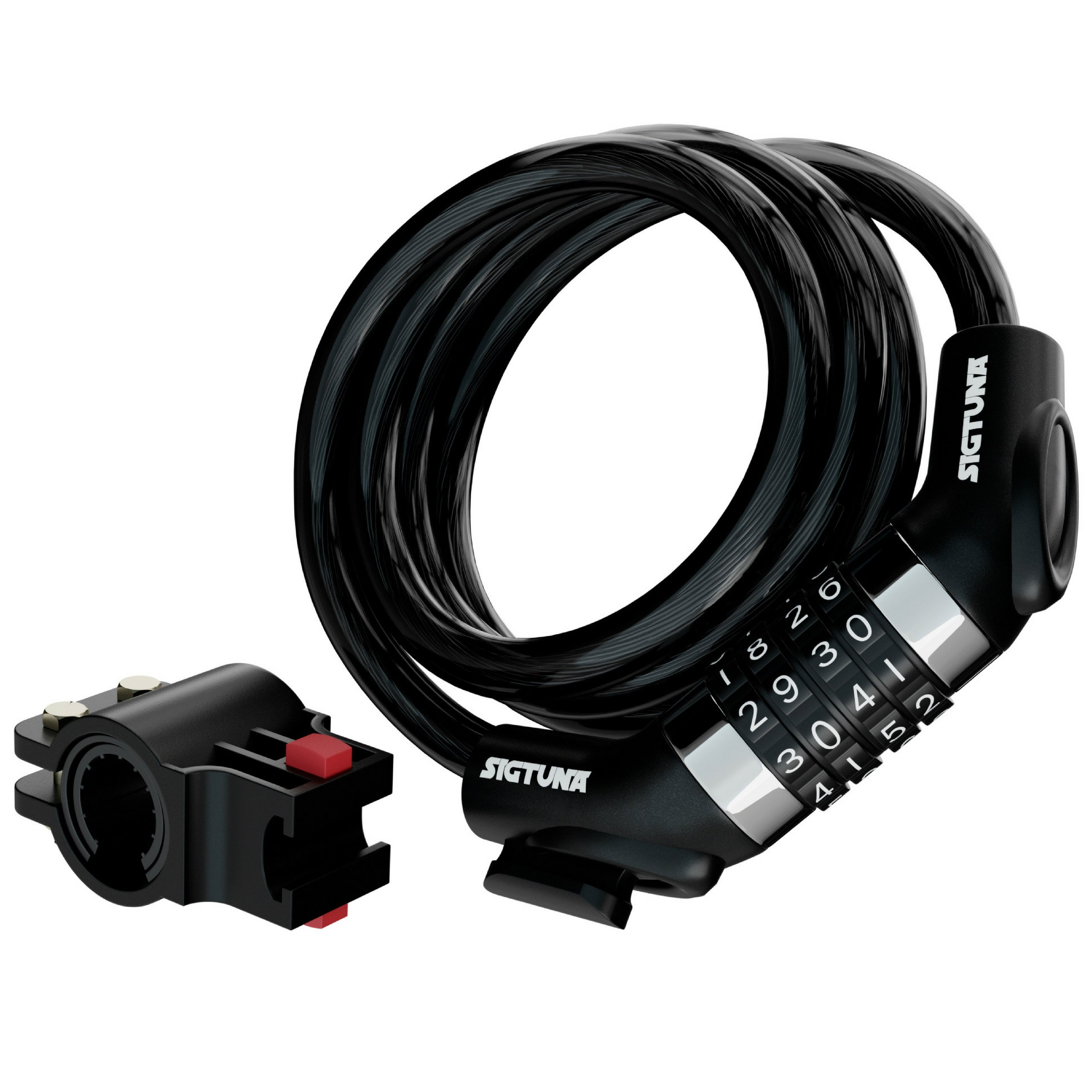SIGTUNA Bike Cable Locks – 4 ft Self Coiling Resettable Keyless Combination Bike Lock Combo with Heavy Duty Mounting Bracket Holder and 10 mm Thick Vinyl Covered Cable