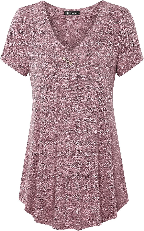 Vinmatto Women's Summer Short Sleeve V Neck Flowy Tunic Top