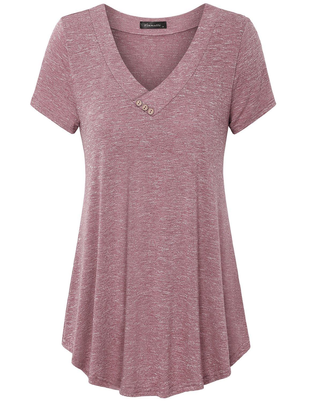 Vinmatto Women's Short Sleeve V Neck Flowy Tunic Top
