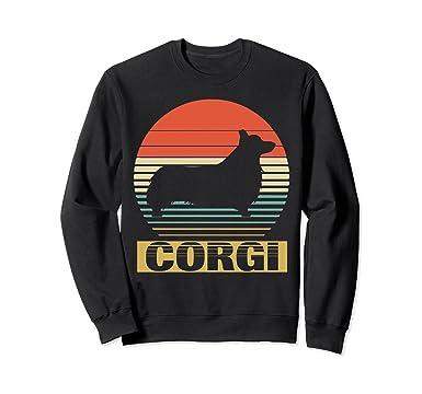 Unisex Vintage Sweatshirt For Corgi Dog Lover Funny Birthday Gifts 2XL Black