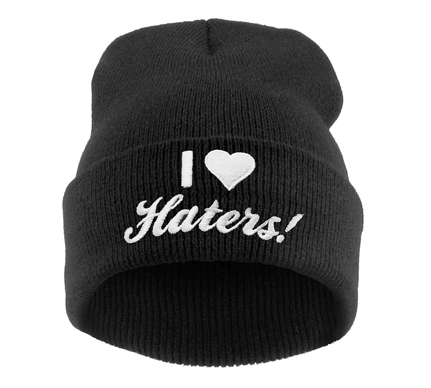 Beanie Mütze Damen Herren Bad Hair Day Easy Witch Trill Bastard Meow Swag Wasted DIE Fake I love Hater Commes des 1994 HAT HATS, Morefazltd (TM) (I love Hater)
