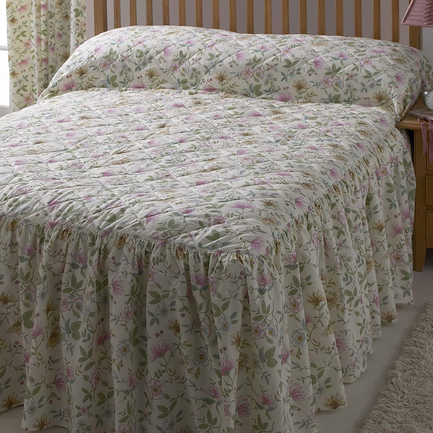 Country Vantona Cottage Garden Floral Print Quilted Fitted Bedspread, Multi - Single Size Dove Mill Bedding