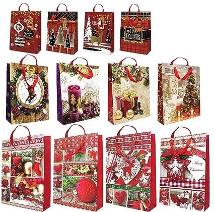 12 Bolsas de Regalo Navideñas Surtidas – Bolsa, Saco con Asas de Soga con Tarjetas de Felicitación – Accesorio, Apoyo de Decoración con Etiquetas - ...