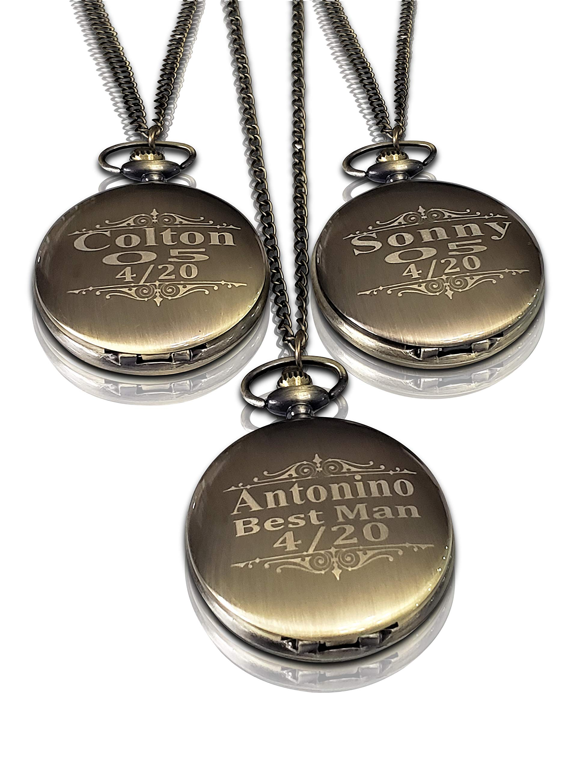 Personalized Pocket Watch Set, 3 Groomsmen & Best Man Gifts, Free Engraving, Box and Chain Included. Custom Engraved (Gold Vintage)