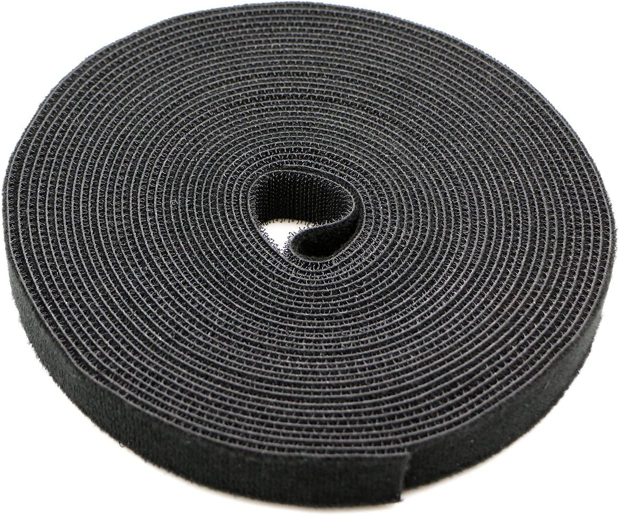 Saisn Reusable Fastening Tape Cable Ties 3/4 Inch Double Side Hook Roll (10 Yard, Black)