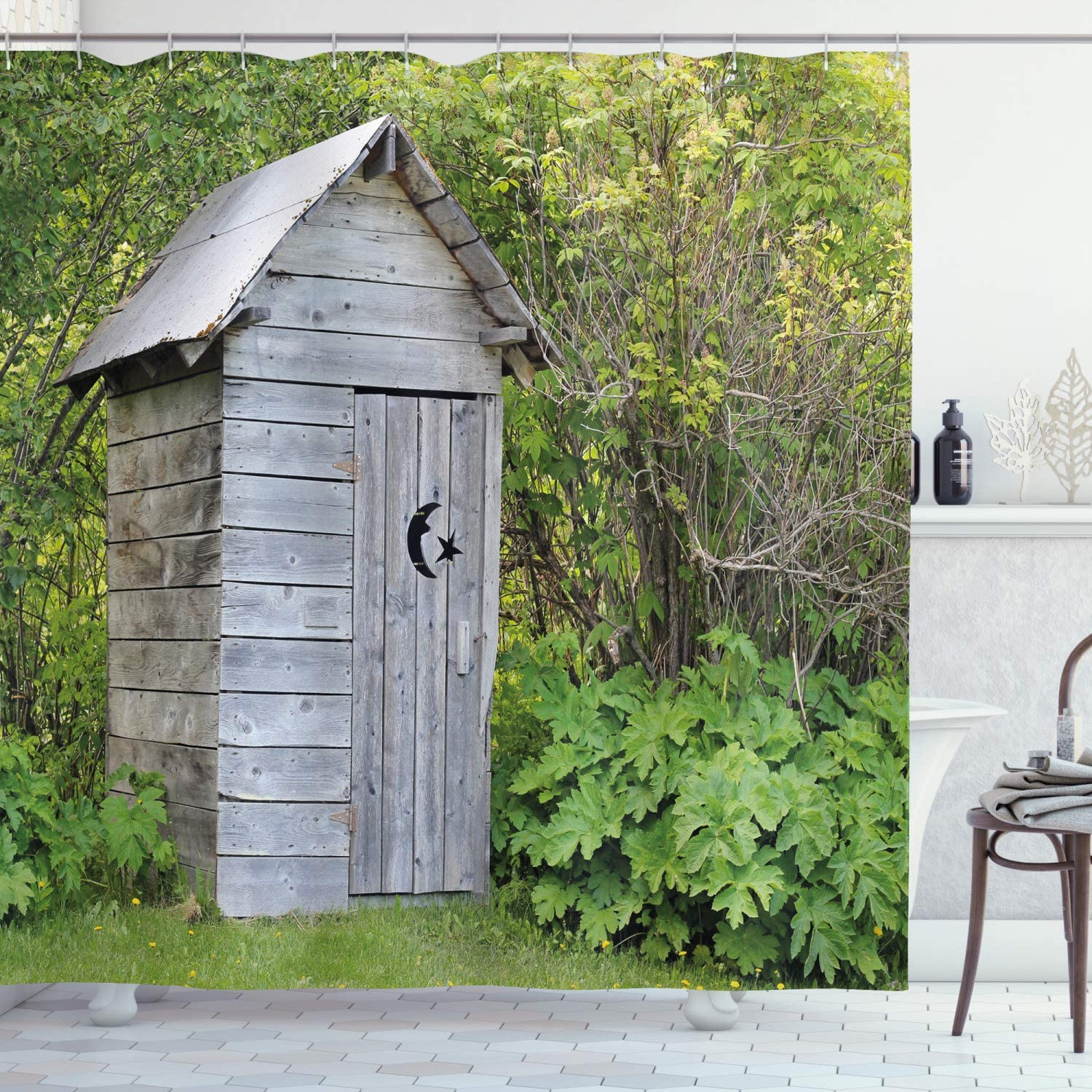 """Ambesonne Outhouse Shower Curtain, Vintage Farm Life Cottage Barn Shed in Forest Trees Leaves Picture, Cloth Fabric Bathroom Decor Set with Hooks, 70"""" Long, Fern Green"""