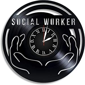 Luchko Decor Complicatible with Social Worker Gift for Men Clock, Social Worker Appreciation, Social Worker Office Decor Social Work Graduation Gift Gift