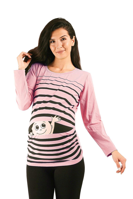 Maniche Lunghe maternit/à Ciao Ciao Premaman Abbigliamento Donna Magliette Premaman T-Shirt Divertente Gravidanza M.M.C