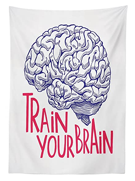Vintage Decor Tablecloth Positive Quote On Curvy Human Brain Intelligence  Head Skull Humor Modern Image Dining