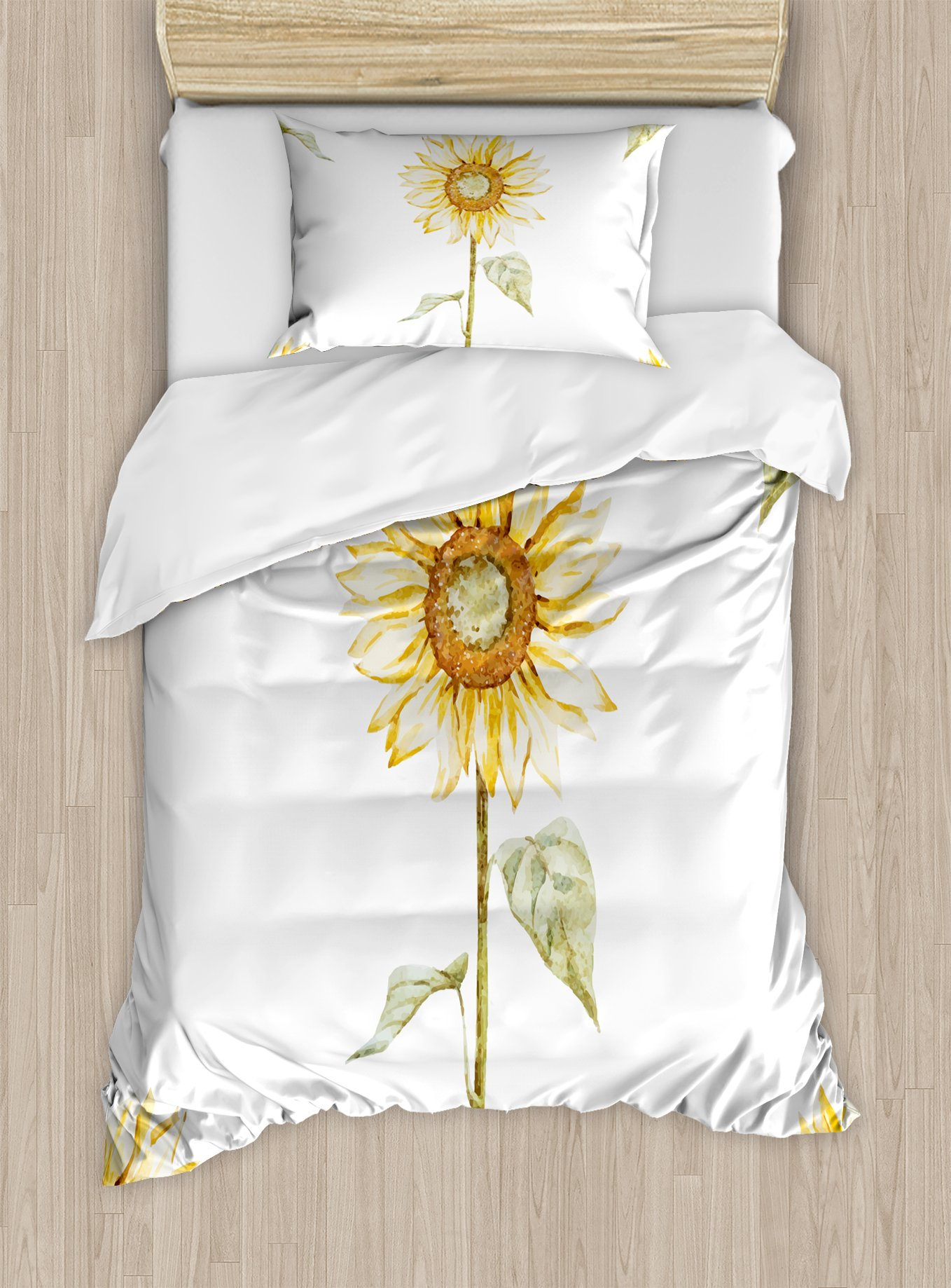 Ambesonne Sunflower Duvet Cover Set Twin Size, Sunflowers with Watercolor Painting Effect and in Minimalistic Design Artwork, Decorative 2 Piece Bedding Set with 1 Pillow Sham, Yellow Green
