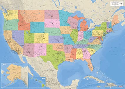 Cartina Stati Uniti D America Con Stati.1art1 Poster Con Cartina Degli Stati Uniti D America 140 X 100