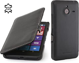 StilGut® Book Type Case con Clip, Custodia in Vera Pelle a Libro per Microsoft Lumia 640 XL, Nero