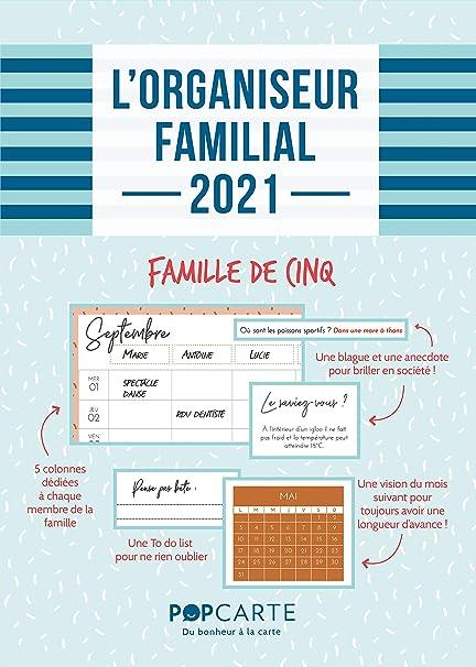Calendrier Mural 2021 • 5 Colonnes • Organiseur Familial • Motifs