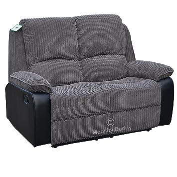 Positano Zwei Sitz Zurücklehnen Sofa (grau) Stoff/Lederfaserstoff