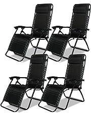 Denny International® Textoline Reclining Garden Chair Beach Sun Lounger Recliner Chairs in Black Weatherproof Textoline