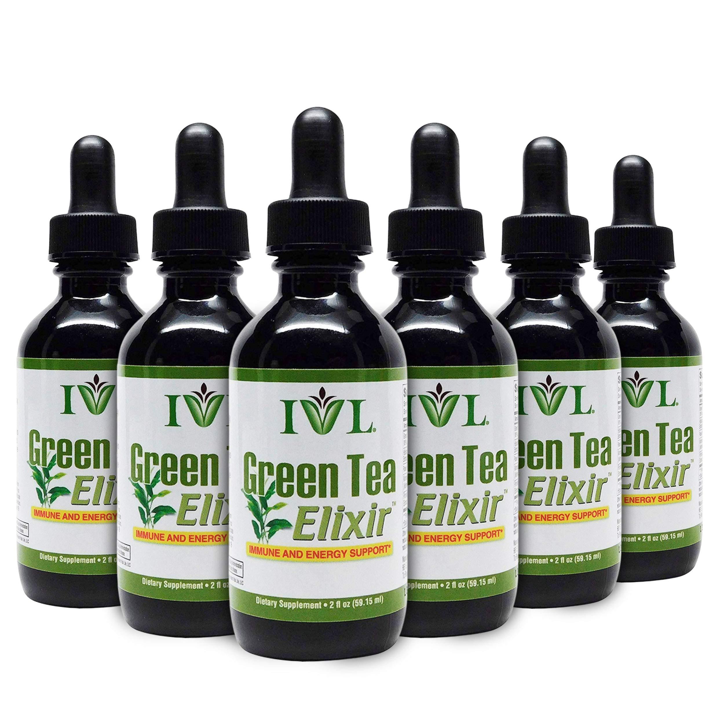 IVL Green Tea Elixir, Energy & Immune Support Dietary Supplement Formula, 1 fl oz (Pack of 6) by IVL