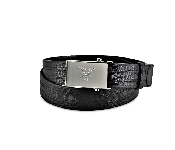 47da83a94e Prada Logo Plaque Saffiano Leather Belt, Black (Nero) 2CM009: Amazon ...