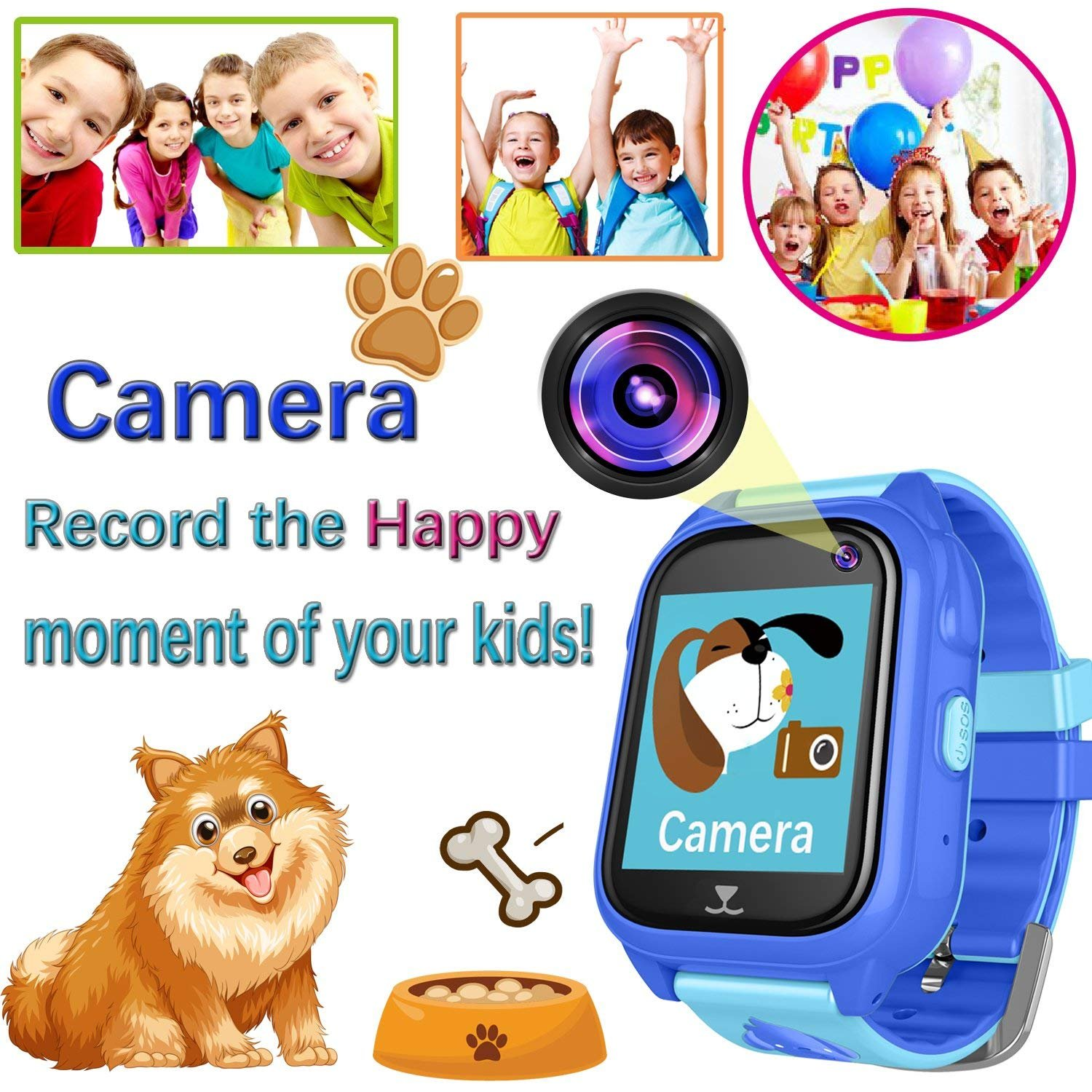 iCooLive Waterproof IP67 Kids Smart Watch Accurate GPS Tracker with FREE SIM CARD for Kid Boys Girls Smartwatch Phone watch Game watch with SOS Call Camera Electronic Learning Toys Birthday Gift by iCooLive (Image #7)