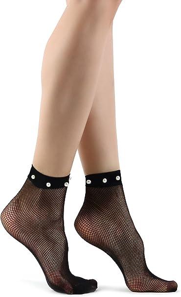 Mixmi Boutique Calcetines negros de malla de rejilla para mujer con ...