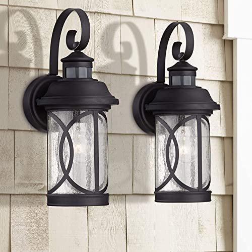 Capistrano Mission Outdoor Wall Light Fixtures Set of 2 Black 12 3/4″ Clear Seeded Glass Dusk to Dawn Motion Sensor