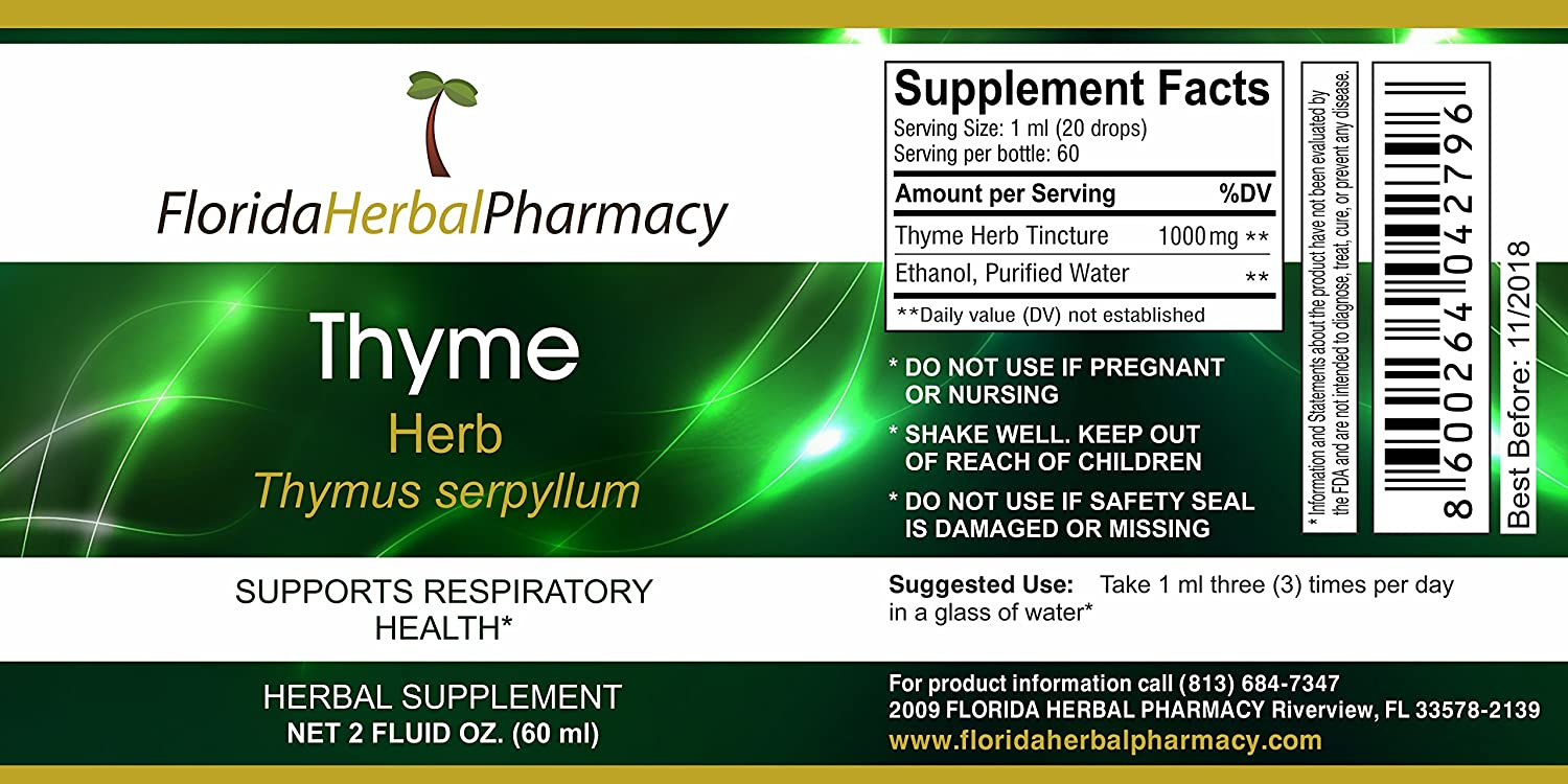 Florida Herbal Pharmacy, Thyme Liquid Extract Tincture Pack of 3