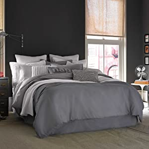 Kenneth Cole Reaction Home Twin Size Duvet Cover from the Mineral Bedding Collection in a Gunmetal Color