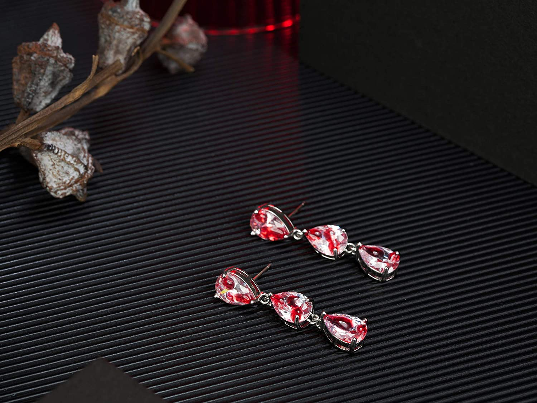 Halloween Party Jewelry Handmade Lightweight Earrings Gifts for Women Girls Bloody CZ Zirconia Teardrop Dangle Earrings