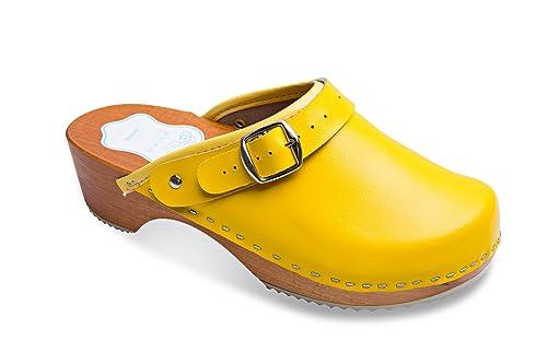 e04e60ebc10 FUTURO FASHION® - Zuecos de Cuero auténtico con Suela de Madera - para  Mujer - Colores Lisos Unisex - Tallas 36-42: Amazon.es: Zapatos y  complementos