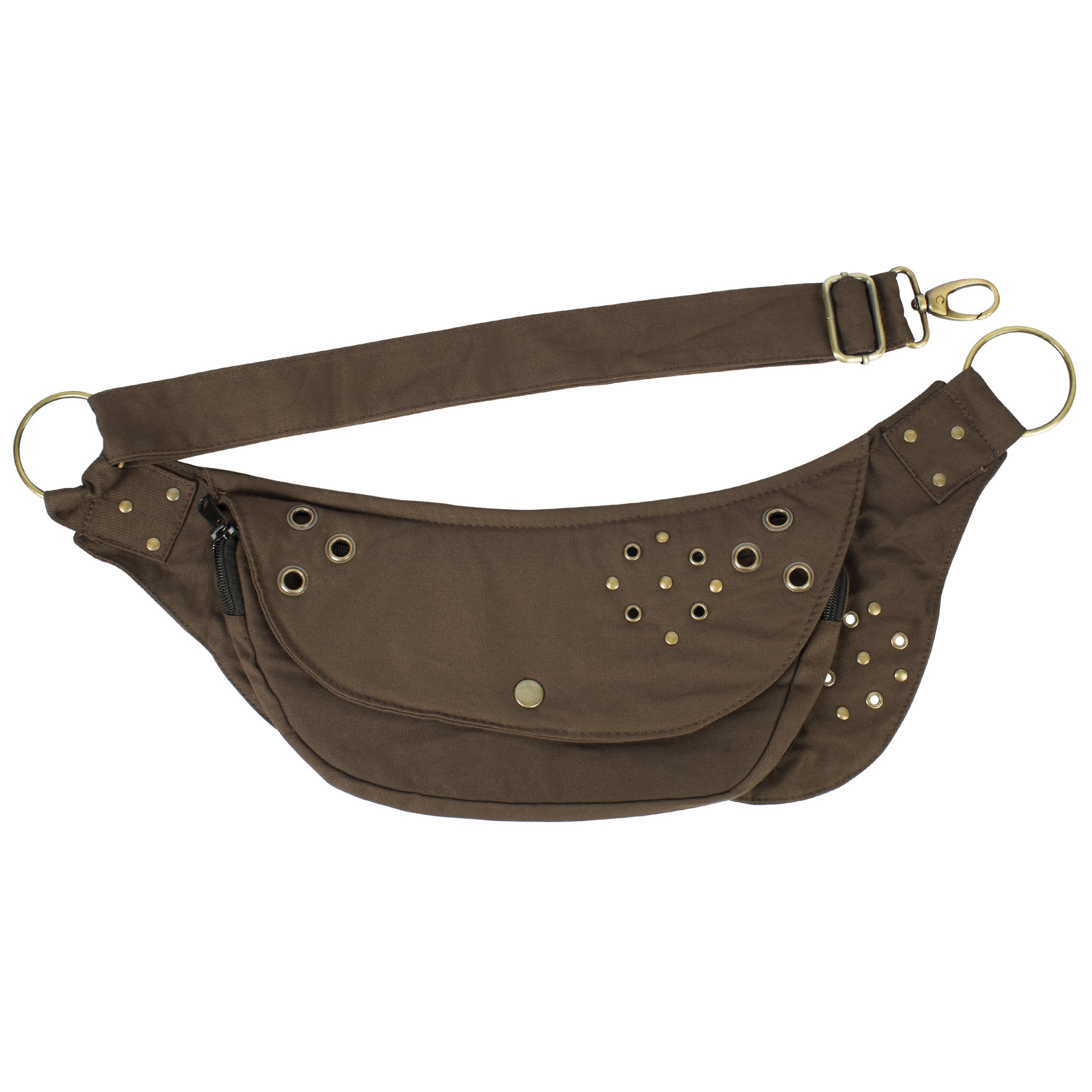 Lakhays Women's Cotton Wide Waistbag Travel Utility Belt Fanny Pack-Brown-One Size