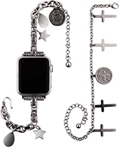 VIQIV Metal Bracelet Chains for Apple Watch 38mm 40mm 42mm 44mm Iwatch SE & Series 6 5 4 3 2 Western Boho Band, Fashion Stylish Bracelet Dressy Jewelry Wristband Strap for Women Stainless Steel