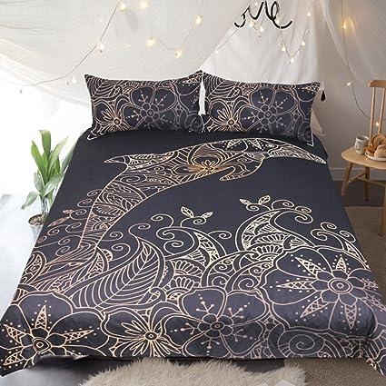 Amazoncom Sleepwish Dolphin Bedding Mandala Flower Printed Black
