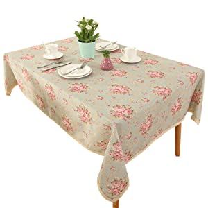 Vintage Flower Decorative Rectangle Linen Tablecloth by HIGHFLY - Printed Pattern Washable Table cloth Dinner Kichen Home Decor - Multi Colors & Sizes