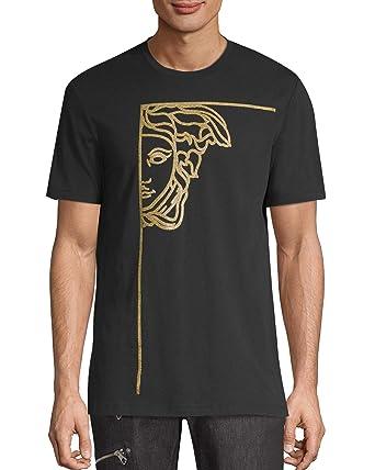 5d662a81 Amazon.com: Versace Collection Medusa Stamp Logo Tee, Black & Gold ...