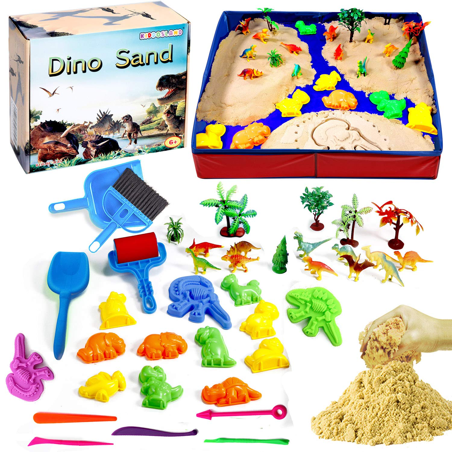 Dino Play Sand Kit for Kids 3lbs Cool Dinosaur Edition Motion Sand with an Inflation-Free Sandbox and Numerous Dino Moulds and Tools Creative Toys for Boys and Girls Ages 3 4 5 6 7+ Year Old by Kiddosland