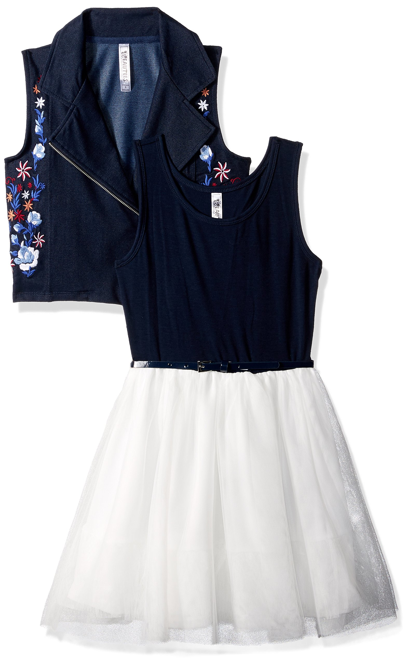 Beautees Big Girls' 2pc Moto Embroidered Jacket/SL Toulle Dress, Denim, 16 by Beautees (Image #3)