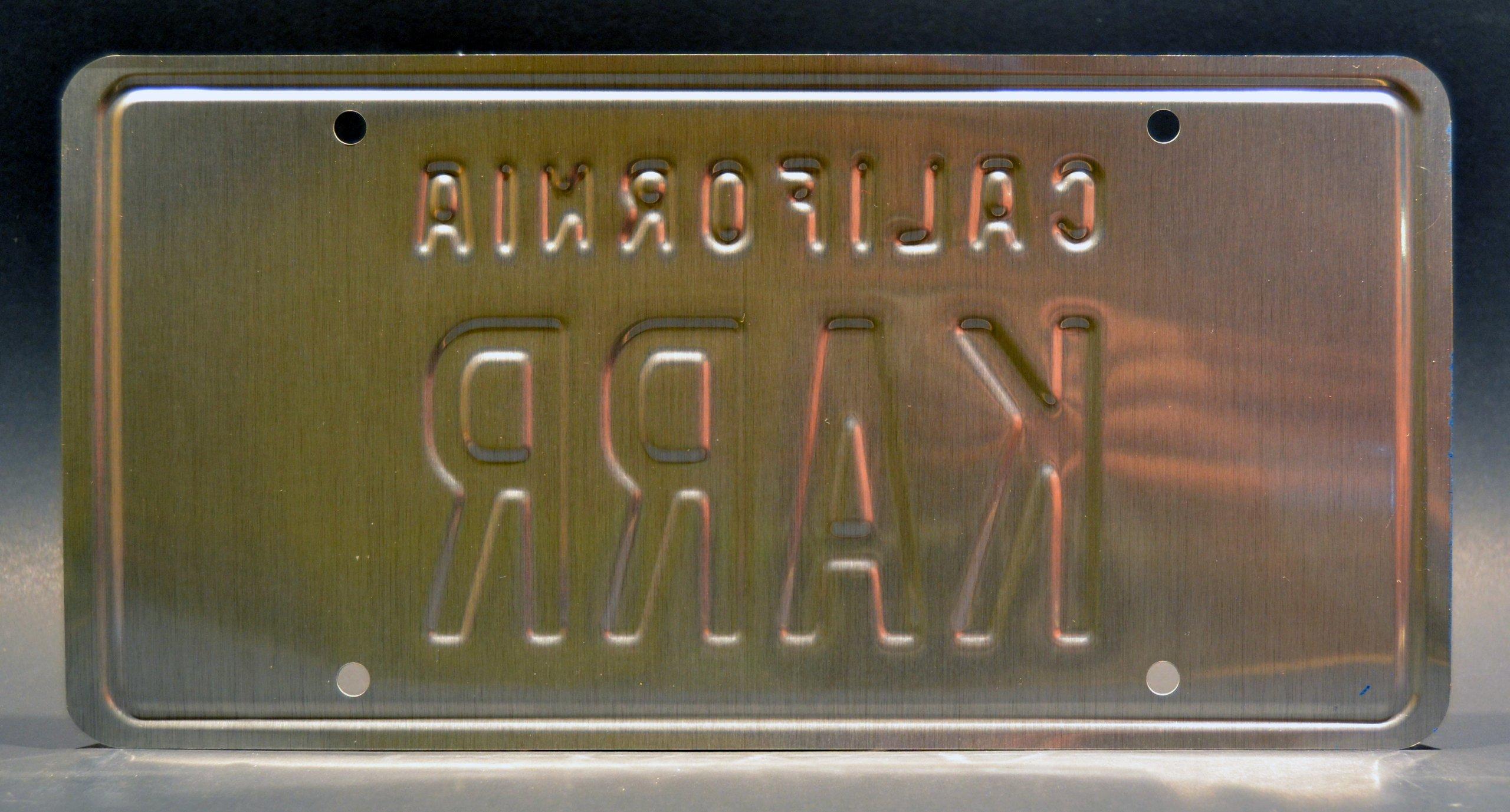 metal con sello Knight Rider//82/Trans Am Kitt de Michael Knight//Knight r/éplica de prop placa de licencia