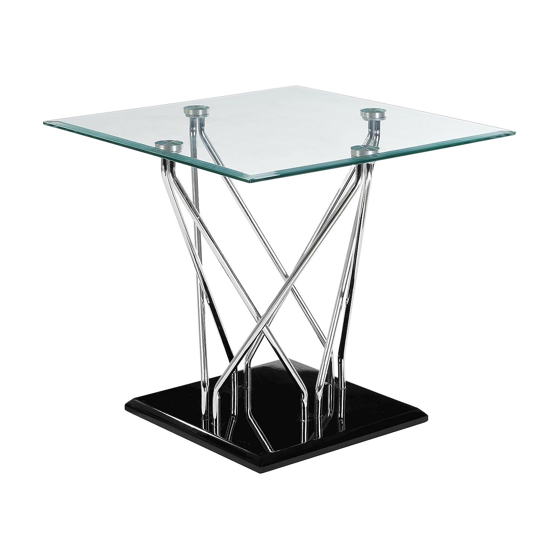 Premier Housewares Table d'appoint Halo, en Verre, Noir, 56x 60cm 2404539
