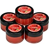 Vaadi Herbals Lip Balm - Ultra Moisturizer Lock - Strawberry & Honey Flavor - All Natural - Pack Of 5 X 10 Gms In Tin -