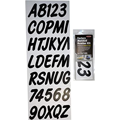Hardline Products BLK400EC Series Factory Matched 3-Inch Boat & PWC Registration Number Kit, Solid Black: Automotive