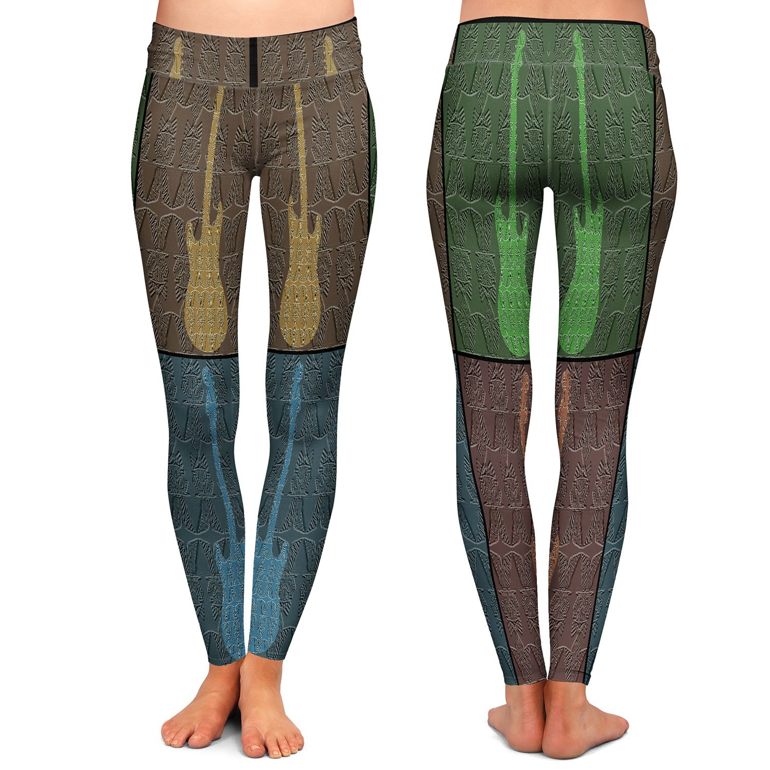 4 Guitars Athletic Yoga Leggings from DiaNoche Designs by Susie Kunzelman