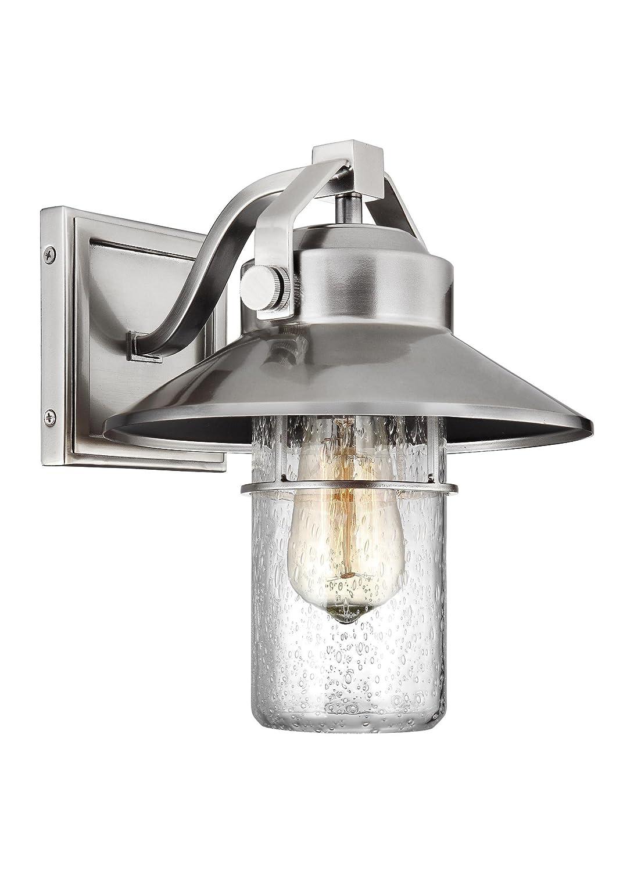 "Feiss OL13900PBS Boynton StoneStrong Marine Grade Outdoor Patio Lighting Wall Lantern, Satin Nickel, 1-Light (9""W x 11""H)"